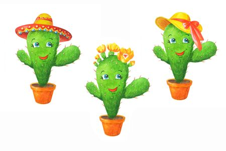 Watercolor set: green cactuses in a different hats. Hand drawn illustration in cartoon style isolated on a white background. Can be used for prints, design, decoration, childrens textiles.