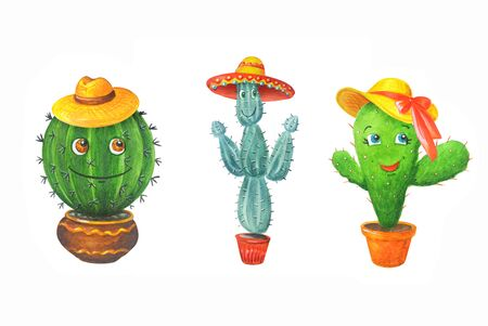 Watercolor set: green cactuses in a pots. Hand drawn illustration in cartoon style isolated on a white background. Can be used for prints, design, decoration, childrens textiles. 스톡 콘텐츠