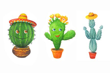 Watercolor set: green cactuses in a hats. Hand drawn illustration in cartoon style isolated on a white background. Can be used for prints, design, decoration, childrens textiles. 스톡 콘텐츠
