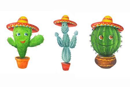 Watercolor set: green cactuses in a sombrero. Hand drawn illustration in cartoon style isolated on a white background. Can be used for prints, design, decoration, childrens textiles.
