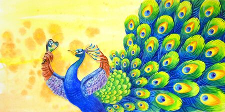 A beautiful peacock admires himself in the mirror. Confident handsome man. Brightw atercolor background in cartoon style for decoration, psychological articles and other fields of application.