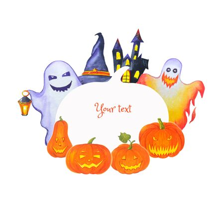 Halloween frame for invitations, congratulations and other text. Watercolor illustration with cartoon monsters, pumpkins and festive attributes. Stock fotó