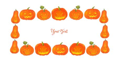 Halloween frame for invitations, congratulations and other text. Watercolor illustration with cartoon pumpkins. Stock fotó