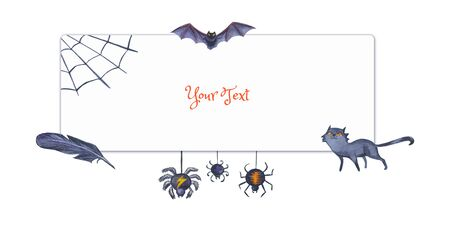 Halloween frame for invitations, congratulations and other text. Watercolor illustration with cartoon monsters and festive attributes. Stock fotó