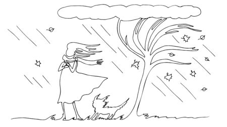 A woman with a dog under a tree is drawn by a continuous line. Autumn rain and wind. Vector simple contour illustration.