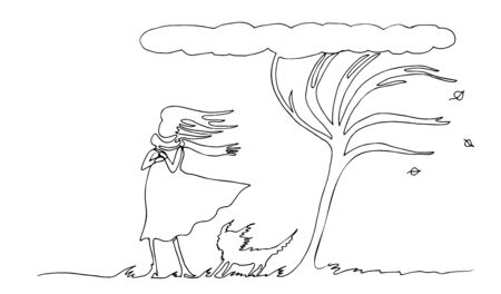 A woman with a dog under a tree is drawn by a continuous line. Autumn wind. Vector simple contour illustration. Ilustração