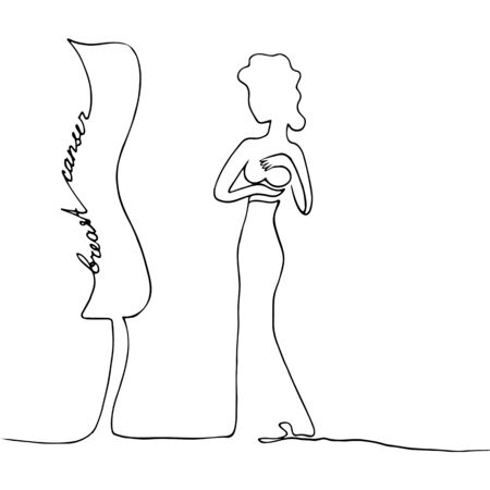 A woman in front of a mirror examines her breasts. Simple vector illustration drawn by a continuous line. Breast cancer. Awareness. Banque d'images - 131389365