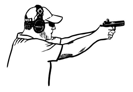 The athlete in the headphones and cap shoots a pistol. Arrow pose at competitions. Vector illustration.