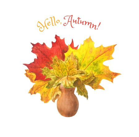 Bouquet of colorful bright maple leaves in a clay vase. Autumn watercolor illustration. For postcards and posters.
