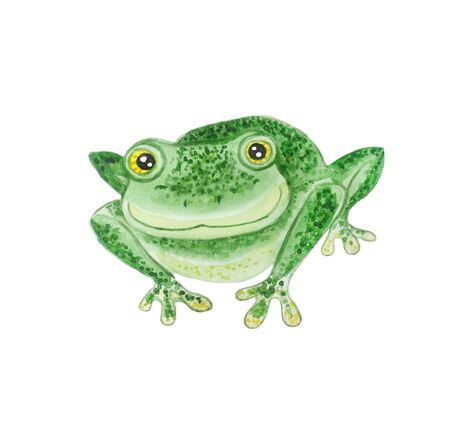 Happy green frog with bulging eyes isolated on a white background. Phyllomedusa sauvagii. Watercolor cartoon illustration.
