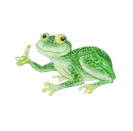 Green frog with bulging eyes isolated on a white background. Phyllomedusa sauvagii. Watercolor cartoon illustration.