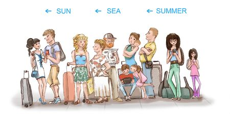 Queue of tourists going on vacation. Different types of people, youth, elderly people, families with children with luggage are waiting for departure. Illustration.