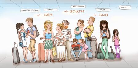 Queue of tourists going on vacation in airport. Different types of people, youth, elderly people, families with children with luggage are waiting for departure. Illustration.