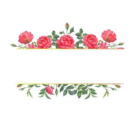 Frame with floral design for invitations, greetings and other. Watercolor flowers: red roses. Hand drawn illustration on a white background.