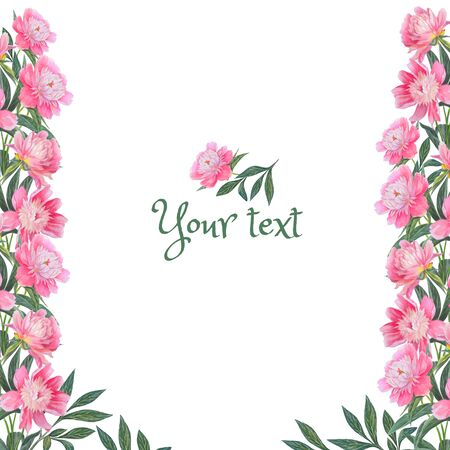 Frame with floral design for invitations, greetings. Watercolor flowers: pink peonies. Hand drawn illustration on a white background.