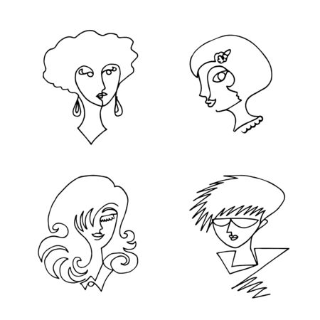 Set of female faces drawn in one continuous line. Abstraction in a minimalist style. Vector illustration.