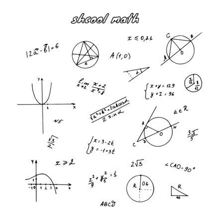 Geometric graphs, algebraic constructions, formulas and figures. School handwritten doodle. Hand drawn vector illustration.
