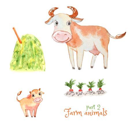 Family of cute pets: cow and calf.  Isolated on white. Watercolor cartoon illustration. A collection of farm animals for the design and decoration of childrens products.  Stock fotó