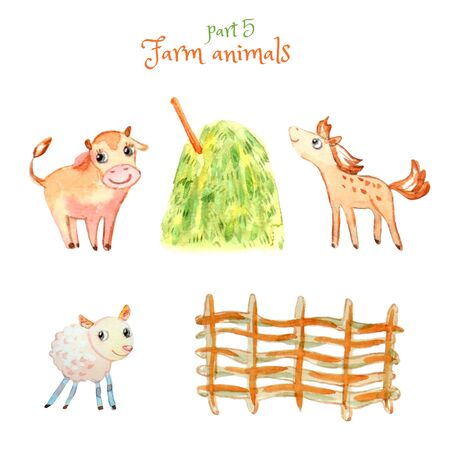 Set of cute little pets: calf, foal and lamb.  Wattle fence, haystack. Isolated on white. Watercolor cartoon illustration. A collection of farm animals for the design  of childrens products.
