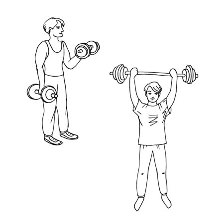 The teenager raises the barbell with a lot of weight. Set of sporting young men. Fitness and healthy lifestyle. Simple vector illustration. Illusztráció