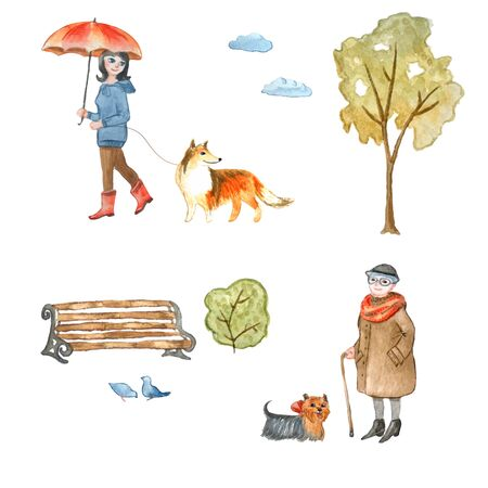 Set of watercolor illustrations in cartoon style. A woman walking a dog. Isolated on white. For the design of children's goods and other design ideas.