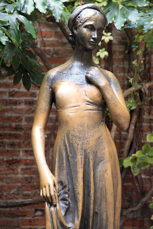 juliets: VERONA ITALY  NOV 18 2010: Juliets statue on Nov 18 2010 in Verona Italy. The Juliets statue at Juliets house is one of the most popular and symbolic tourist attractions in Verona Italy.