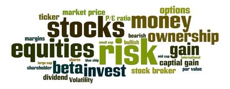 equidad: Nube de palabra con stock, la equidad, el riesgo de palabras relacionadas Foto de archivo