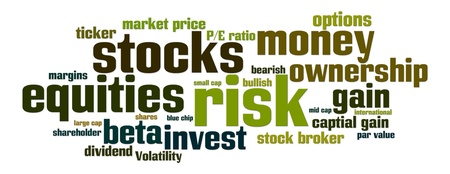 bearish market: Word cloud with stock, equity, risk related words