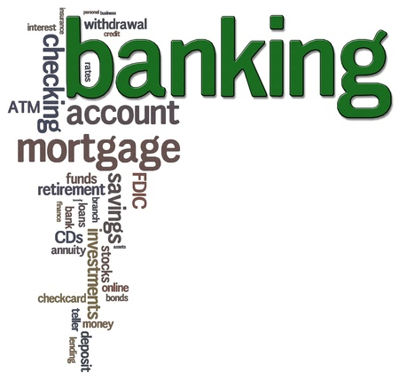 A word cloud using banking related terms Фото со стока