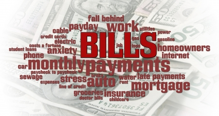 monthly: Bills word cloud over a money pile background