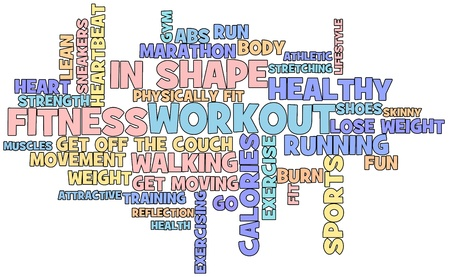 strong: Fitness themed word cloud isolated on white background Stock Photo
