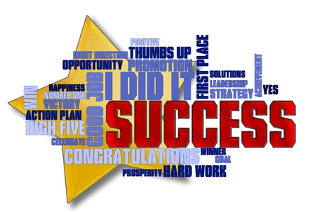 Success word cloud with star on white background