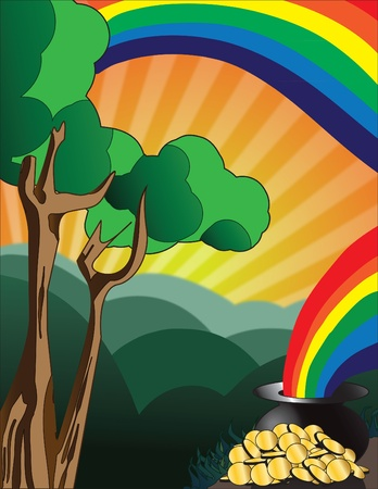 illustration of pot of gold at the end of rainbow Stock Illustration - 8945955