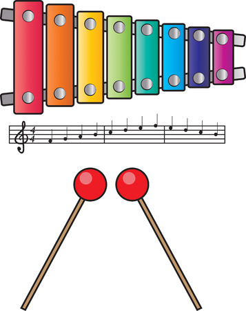xylophone with mallets and music