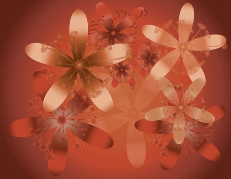 A red orange floral background illustration