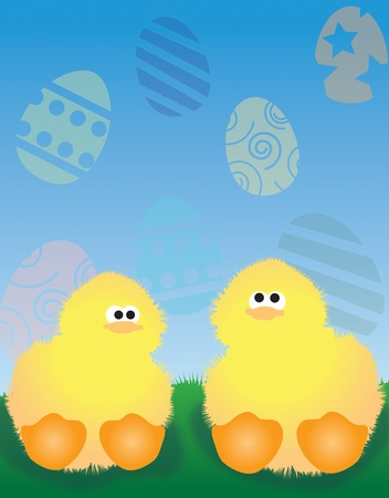 Two ducklings in grass Easter background eggs  Stock Photo