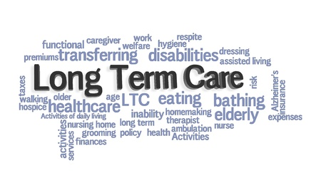 assisted living: Long Term Care Word Cloud on White Background