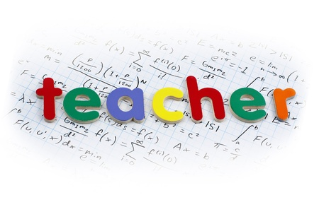 Teacher written in colorful wooden letters over a calculus background Stock Photo - 9504016