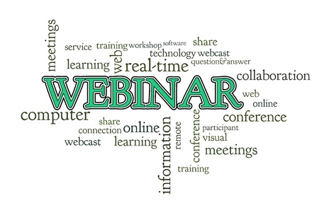 Webinar word cloud on white background isolated