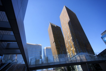 LAS VEGAS, NEVADA  USA - September 27, 2011 - Designed by Helmut Jahn, Veer Towers stand 37 stories tall and incline at five degree angles.