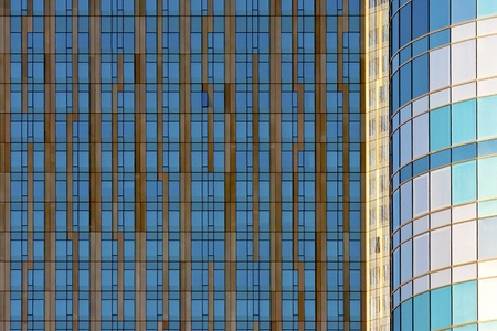 Blue and gold windows create a beautiful geometric pattern Imagens