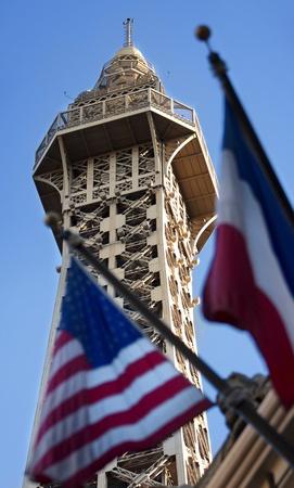 LAS VEGAS, NEVADA - SEPTEMBER 27, 2011 - Paris Las Vegas boasts a half scale replica of the Eiffel Tower Stock Photo - 10738939