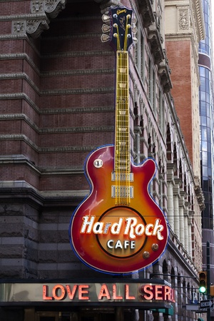 hardrock: PHILADELPHIA, PENNSYLVANIA, USA - SEPTEMBER 19, 2011 - The Hard Rock Cafe Philadelphia is located in the historic Reading terminal train station.  Editorial