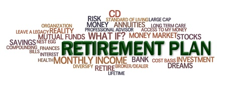 estate planning: Retirement Plan word cloud with financial words Stock Photo