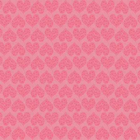 A Simple pink seamless background line pattern with hearts