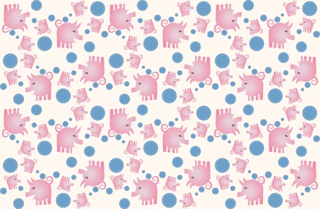 oink: Repeating background pattern of happy pink pigs
