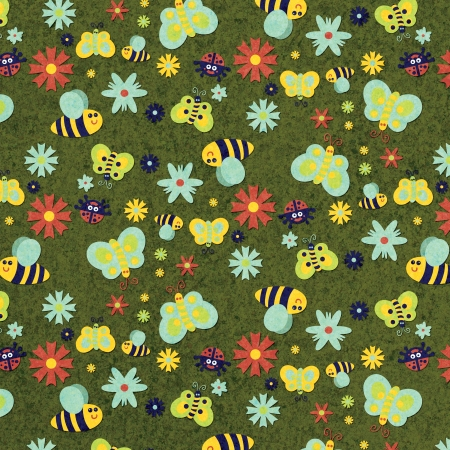 Summer themed pattern with butterflies, bees, and flowers with green textured background