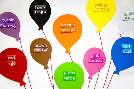 The English and Spanish words for each color labels a balloon for each color