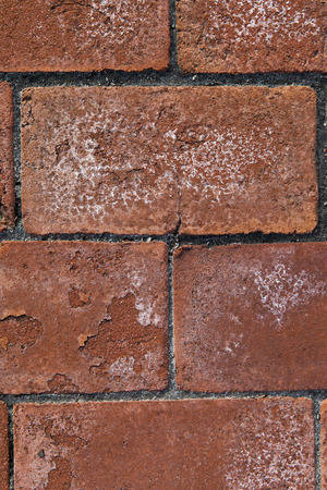 deteriorating: bricks with white deposits.