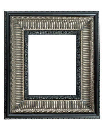 silver frame: One ornate, elegant, silver and black picture frame isolated on white background
